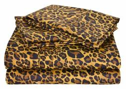 1 Fitted sheet & 2 Pillowcase Leopard Print 1000 Thread Coun