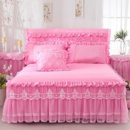 1 Piece Lace Bed Skirt +2pieces Pillowcases bedding set Prin