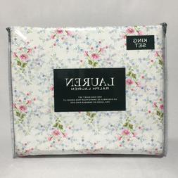 Ralph Lauren 100% Cotton 4pc Pink/white/blue floral Sheet Se