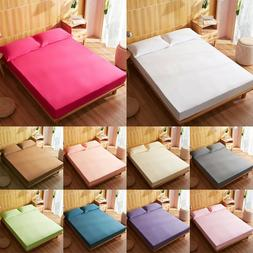 100%Cotton Fitted Sheet Pillow Cases Set Queen King Size Coz