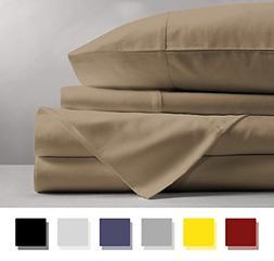 Mayfair Linen 100% Egyptian Cotton Sheets, Taupe California