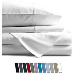 Mayfair Linen 100% Egyptian Cotton Sheets, White King Set, 8