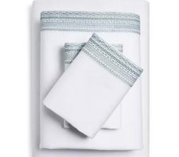 100% Linen Solid Sheet Set Fieldcrest Aqua Spill, 4 Pcs Blue