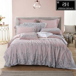 100% Tencel Lyocell Lace Princess 4 Piece Bedding Sets <font