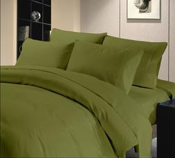 1000 TC Olive Solid King Size Bed Sheet Set Egyptian Cotton