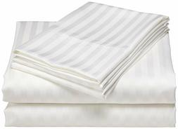 1000 TC White Striped King Size Bed Sheet Set Egyptian Cotto