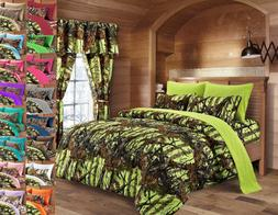 7 pc Lime Woods Camo Queen Comforter and sheets/pillowcases
