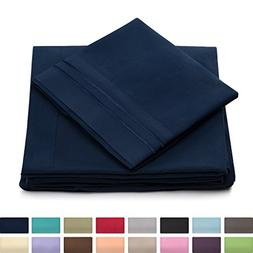 California King Size Bed Sheet Set - Navy Blue Cal King Bedd