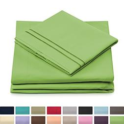 California King Size Bed Sheet Set - Lime Green Cal King Bed