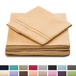 California King Size Bed Sheet Set - Gold Cal King Bedding -