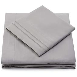 King Size Bed Sheets - Silver Luxury Sheet Set - Deep Pocket