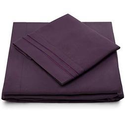 Split King Bed Sheets - Purple Luxury Sheet Set - Deep Pocke