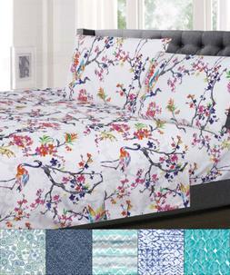 1500 Supreme Collection Patterns 4 Piece Sheet Sets Floral,