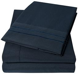1500 Supreme Collection Extra Soft King Sheets Set, Navy Blu