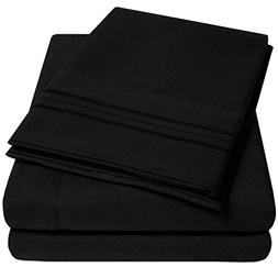 1500 Supreme Collection Extra Soft King Sheets Set, Black -