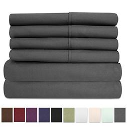 Bed Sheets Queen Size Grey - 6 Piece 1500 Thread Count Fine