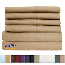 King Size Bed Sheets - 6 Piece 1500 Thread Count Fine Brushe