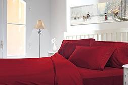 1500 Thread Count Queen 4pc Bed Sheet Set Deep Pocket Burgun