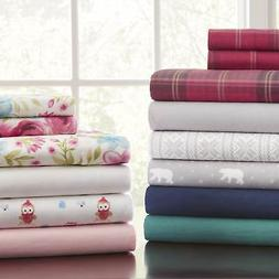 Pointehaven 175 GSM Cotton Flannel Sheet Set with Oversized