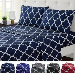 "Mellanni 4-Piece Bed Sheet Set Quatrefoil 16"" Deep Fitted Mi"