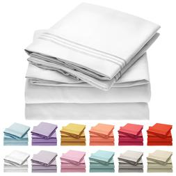 Mellanni 4-Piece Bed Sheet Set- Deep Pocket, Wrinkle, Stain