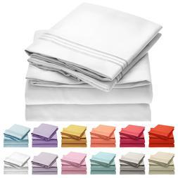 Mellanni 4-Piece Bed Sheet Set- Deep Pocket, Wrinkle, Stain