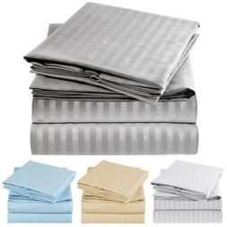 Mellanni 4-Piece Bed Sheet Set STRIPED - Deep Pockets, Wrink