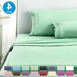 1800 Count 4 Piece Deep Pocket Bed Sheet Set Double Queen Ki