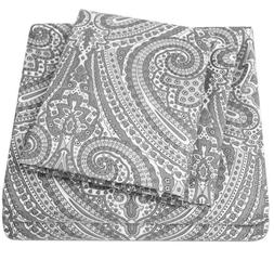 Sweet Home Collection 1800 Count Gray Paisley Print 4 Piece