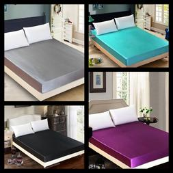 1pc elegant satin silky solid soft bed