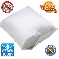 2 Pack Waterproof Hypoallergenic BedBug Zipper Pillow Protec
