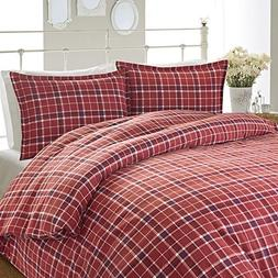 Laura Ashley 216209 Highland Check Flannel Duvet Cover Set,
