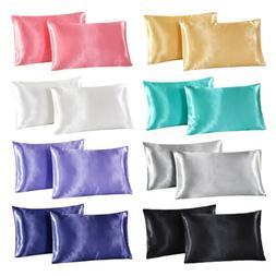 2pcs standard queen king satin silk pillowcase
