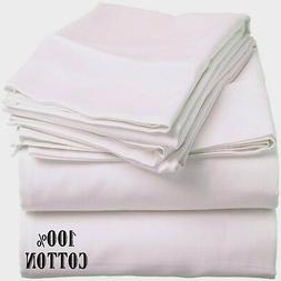6 new white king size hotel flat sheets 108x110 200 threadco