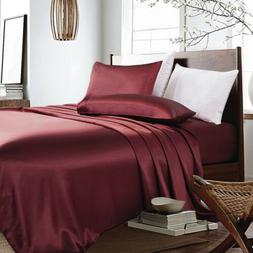 4-PC Maroon Bridal Satin Silky Sheet Set Queen/King Size Fit