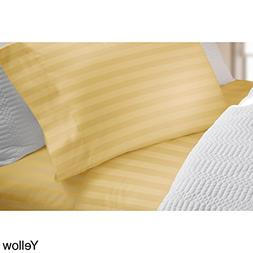Elle 300 Thread Count Cotton Damask Stripe Sheet Set Yellow