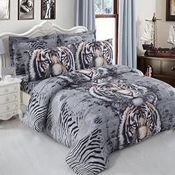 Jessy Home 3D Bedding Set Queen/Full Tiger Duvet Cover Print