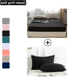 3PCS Bed Sheet + Pillowcase Set Queen King Size Deep Pocket