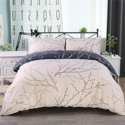 3Pcs Reversible Printed Duvet Cover Pillowcase Bedding Set C