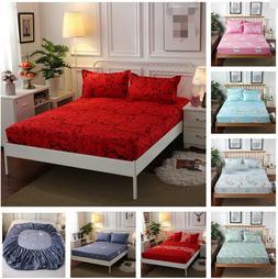 3Pcs/Set Bed Fitted Sheet + Pillowcases Bedding Mattress Pro