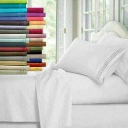 4/6 Piece Bedroom Bed Sheet Set 1800 Thread Count Luxury Com