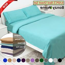 4/6 Piece Bed Sheet Set Deep Pocket Sheets Queen King Full S