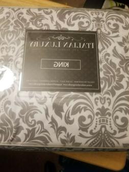 Italian luxury 4 pc Damask sheet set. King size.