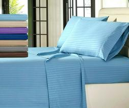 Egyptian Comfort 1800 Count 4 Piece Stripe Bed Sheet Set Dee
