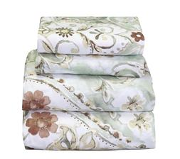 4 Pcs Floral Sheet Set Flat/Fitted/Pillowcases Green Brown F