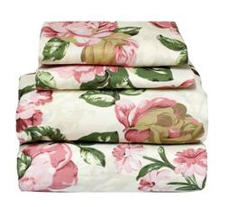 4 Pcs Floral Sheet Set Flat/Fitted/Pillowcases Large Pink Ro