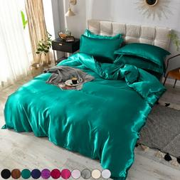 4 Pcs Kit Summer Sheets Bedspreads Bed Silk Duvet Cover Sets