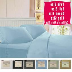4 Piece Bed Sheet Set Deep Pocket 6 Color 5 Size Available N