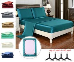 4 Piece Bed Sheet Set Silky Satin California King Soft Luxur