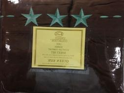 4 Piece Bed Sheets Texas Star Embroidery Brown+TURQUOISE STA